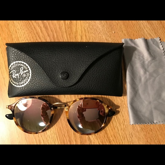 5ec7ab9dc Ray-Ban Accessories   Rayban Round Fleck Sunglasses In Copper Flash ...